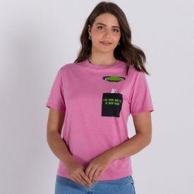 Camiseta Malha Mesclada Estampa Bolso Boby Blues Rosa