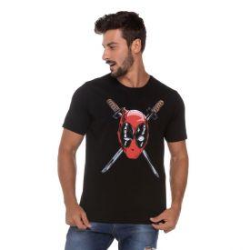 Camiseta Meia Malha Deadpool Marvel Preto