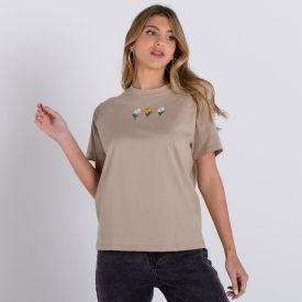 Camiseta Mini Bordados Flores Patrícia Foster Bege