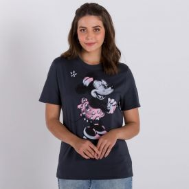 Camiseta Minnie Mouse Disney Cinza Medio