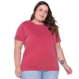 Camiseta Plus Size com Bordado Manga Patrícia Foster Mais Rosa Stone