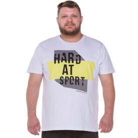 Camiseta Plus Size Estampada Athletic Scream Branco