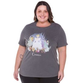 Camiseta Plus Size Estonada Cinderela Disney Preto