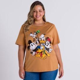 Camiseta Plus Size Mickey e Amigos Disney Caramelo
