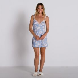 Camisola Estampada sem Bojo com Renda Camila Moretti Floral Azul
