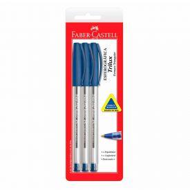 Caneta Esferográfica Trilux Azul 3 Unidades Faber Castell - SM/032AZ