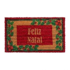 Capacho De Fibra De Coco Natal 33X60cm Havan - Vermelho