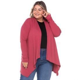 Cardigan Plus Size Canelado Assimétrico Analola Rosa Slub
