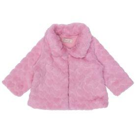 Casaco de Bebê Peluciado Forro em M/Malha Fakini Rosa Envelhecido