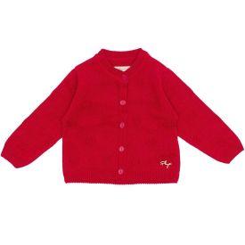 Casaco de Bebê Tricot Corações Fakini Vermelho Escuro