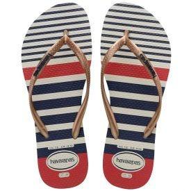 Chinelo Feminino Slim Nautical Havaianas - BRANCO/ROSE GOLD 37/38