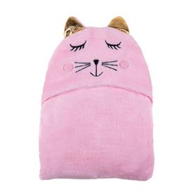 Cobertor Baby Flanel Com Capuz  - Gato Rosa