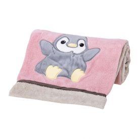 Cobertor Bebê Bordado 75X100m Microfibra - Pinguim rosa