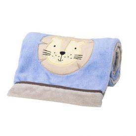 Cobertor Bebê Bordado 75X100m Microfibra - Leão Azul