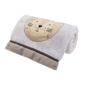 Cobertor Bebê Bordado 75X100m Microfibra - Leao Bege