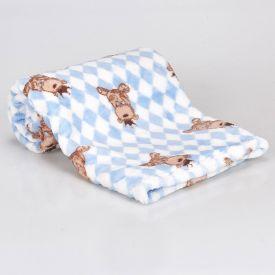 Cobertor Bebê Microfibra 90X100cm Yoyo Baby - Urso Gravata Azul