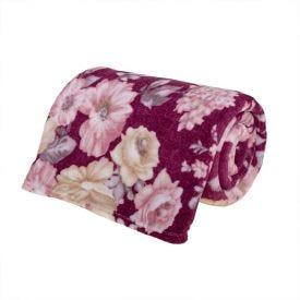 Cobertor Casal Microfibra Estampado Yaris - La Flore Vinho