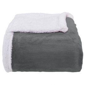 Cobertor Queen Sherpa Dupla Face - Cimento