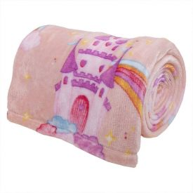 Cobertor Solteiro Kids Flannel Basic Andreza - Unicorn Kingdom Rosa