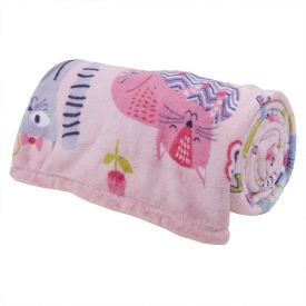 Cobertor Solteiro Kids Flannel Basic Andreza - Kitties Rosa