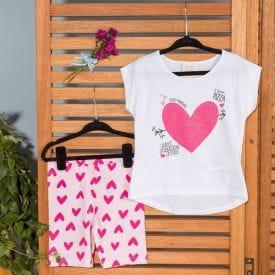 Conjunto 1 a 3 anos Blusa + Legging Corações Yoyo Kids Branco/Coracoes Rosa