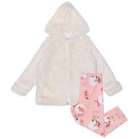 Conjunto 1 a 3 anos Jaqueta Pelos + Calça Soft Alakazoo Off White