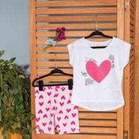 Conjunto 4 a 10 anos Blusa + Legging Corações Marmelada Branco/Coracoes Rosa