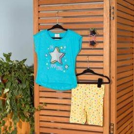 Conjunto 4 a 10 anos Blusa + Legging Marmelada Azul/Estrelas Amarelo