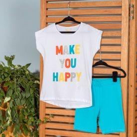 Conjunto 4 a 10 anos Make Yoy Happy Marmelada Branco/Azul
