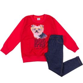 Conjunto 4 ao 10 Pet Style Fakini Morango