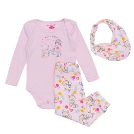 Conjunto Body de Bebê com Calça + Brinde Yoyo Baby Rosa