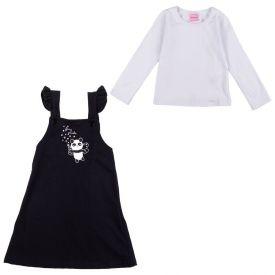 Conjunto de 1 a 3 Anos Blusa e Salopete Panda Yoyo Kids Preto/Branco