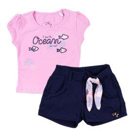 Conjunto de 1 a 3 Anos Blusa e Short Ocean Fakini Rosa/Marinho