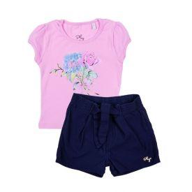 Conjunto de 1 a 3 Anos Blusa e Shorts Yoyo Kids Rosa / Marinho