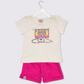 Conjunto de Bebê Blusa e Shorts Music Yoyo Baby Natural