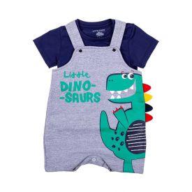 Conjunto de Bebê Dino Jardineira e Blusa Yoyo Baby Mescla Escuro/Marinho