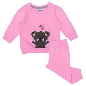 Conjunto de Bebê Molecotton Peluciado Blusão + Calça Fakini Rosa Petala