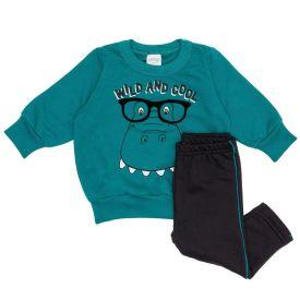 Conjunto Moletom de Bebê Blusão + Calça Dino Alakazoo Verde