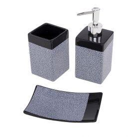 Conjunto Para Banheiro 3 Peças Finecasa - Cinza e Preto