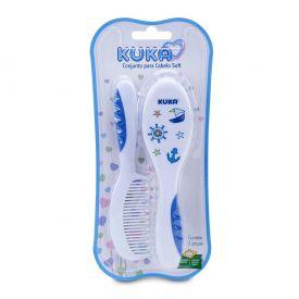 Kit Pente e Escova para Cabelo Bebê Soft Kuka Baby - Azul