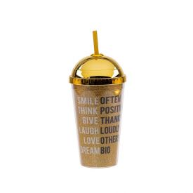 Copo Com Canudo Fun 500Ml Solecasa - Dourado