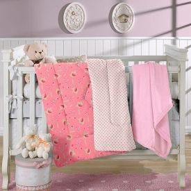 Edredom Para Bebê Plush 1,00Mx1,10M Plush Yoyo Baby - Rosa