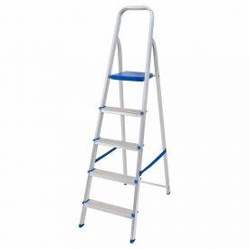Escada Alumínio 5 Degraus Mor - Prata