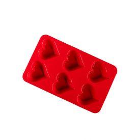 Forma De Silicone Para Cupcake De Corações Finecasa - Vermelho