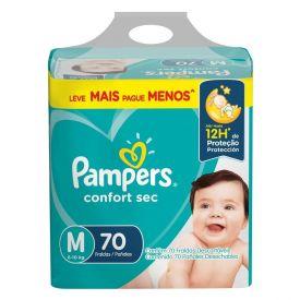 Fralda Pampers Confort Sec Tam.M 6 A 10Kg - 70 unidades