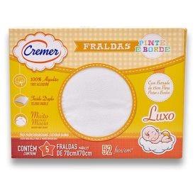Fralda Luxo Pinte e Borde Branca com 5 Unidades Cremer - Fralda