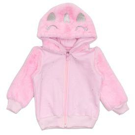 Jaqueta de Bebê Moletom + Capuz Peluciado Yoyo Baby Rosa Claro