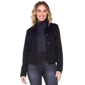 Jaqueta Jeans Black com Aplicação na Pala Boby Blues Preto