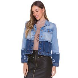 Jaqueta Jeans com Contraste Boby Blues Blue
