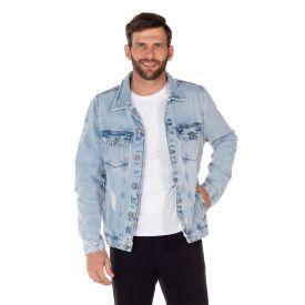 Jaqueta Jeans com Costas Estampada Thing Light Blue